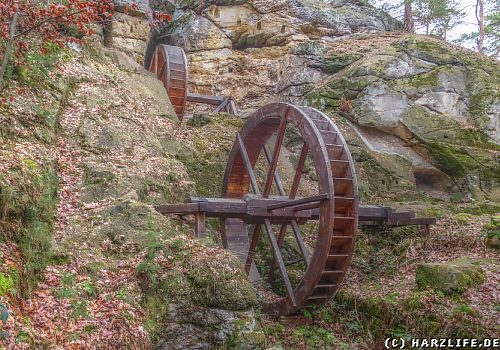 rekonstruierte Wasserräder der Regensteinmühle