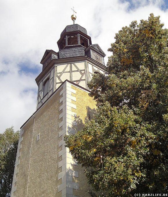 Der Kirchturm der St.-Marien-Kirche in Wippra
