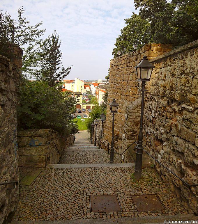 Stadtmauer mit Wassertreppe in Nordhausen