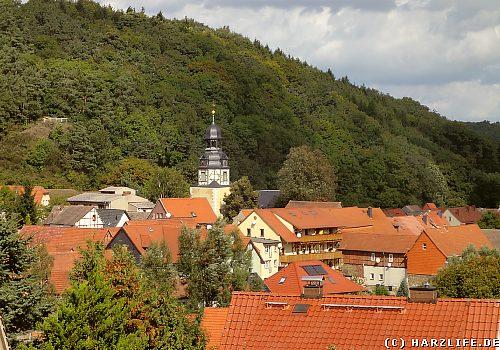 Blick auf Wippra und den Kirchturm der St.-Marien-Kirche