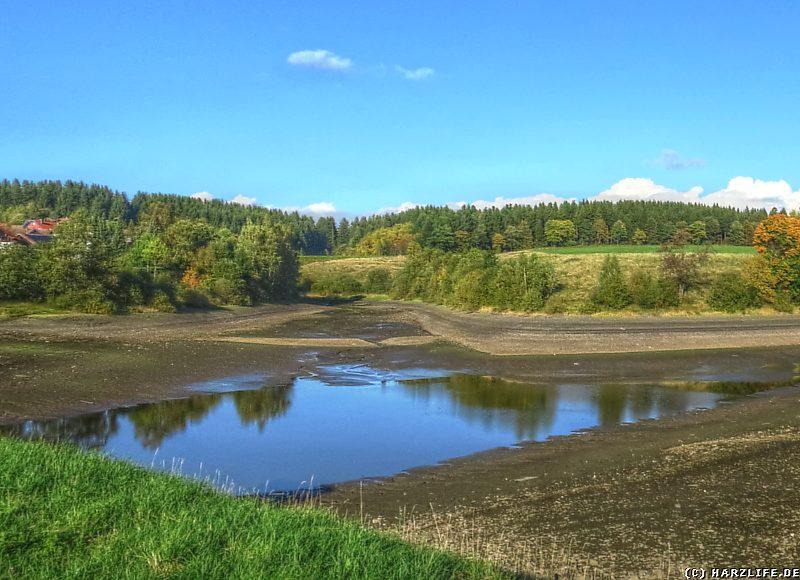 Blick auf die alten Teichdämme im leeren Unteren Eschenbacher Teich