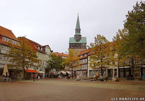 Kornmarkt in Osterode mit Marktkirche St. Aegidien