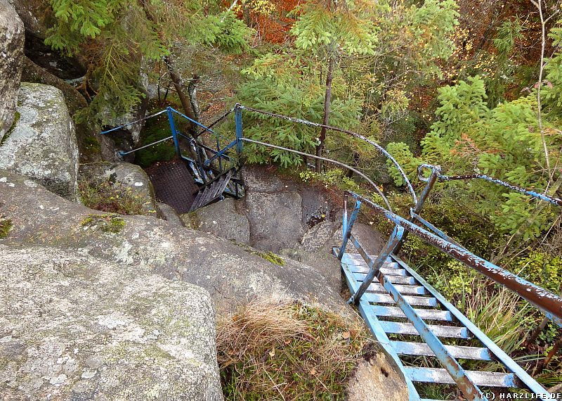 Herbststimmung an den Schnarcherklippen - Eine Eisenleiter führt auf die begehbare Schnarcherklippe hinauf