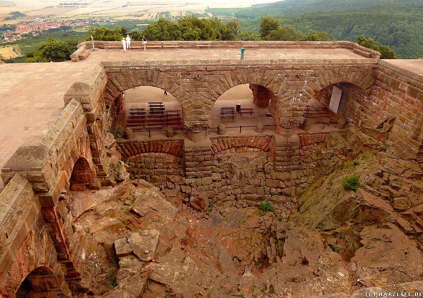 Kyffhäuserdenkmal - Schöne Aussicht auf den Barbarossahof und den Ort Tilleda
