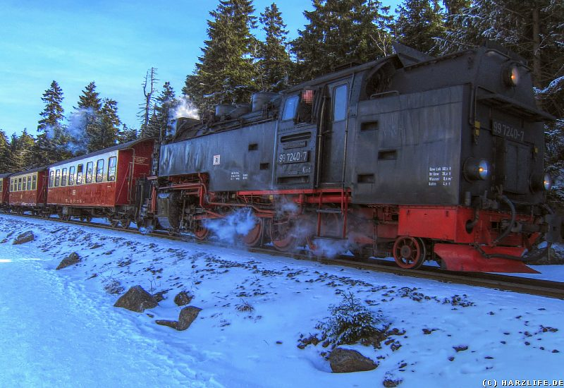 Die Brockenbahn auf der Rückfahrt nach Schierke