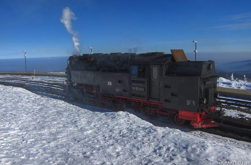 Dampflok der Brockenbahn auf dem Brockenbahnhof