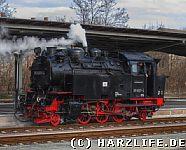 Dampflok auf dem Bahnhof Quedlinburg