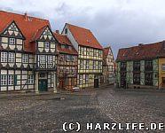 Schlossplatz mit Klopstockhaus in Quedlinburg