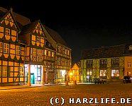 Schlossplatz in Quedlinburg bei Nacht