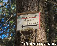 alter Wegweiser zur Adlerklippe