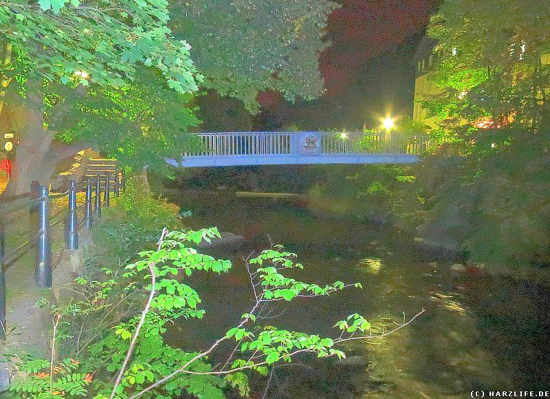 Die Katerstiegbrücke im Bodetal bei Thale bei Nacht