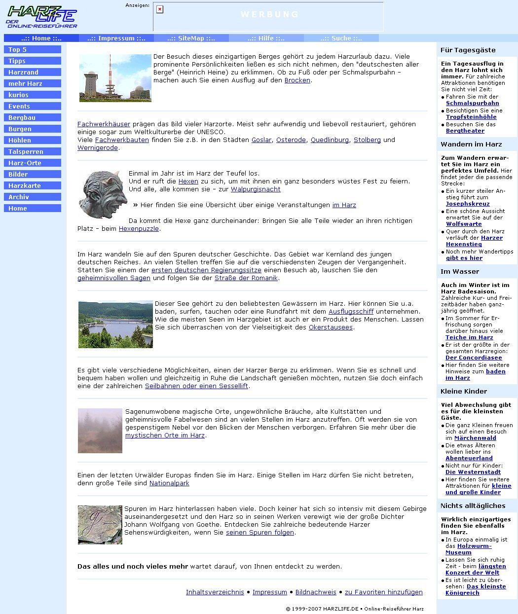 harzlife.de-Titelseite im November 2007