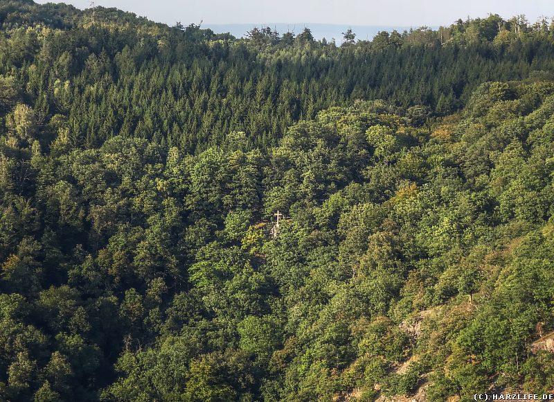 Blick vom Aussichtspunkt Prinzensicht auf das Bibrakreuz