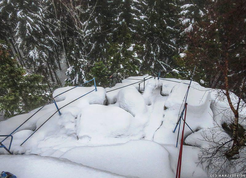 Der Aufstieg auf die Schnarcherklippe bei Eis und Schnee