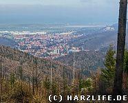 Aussicht vom Gebohrten Stein auf Wernigerode