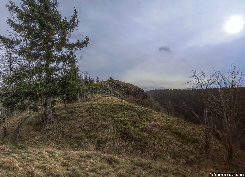 Burgruine Susenburg - Reste der vorgelagerten Wall-Graben-Anlagen