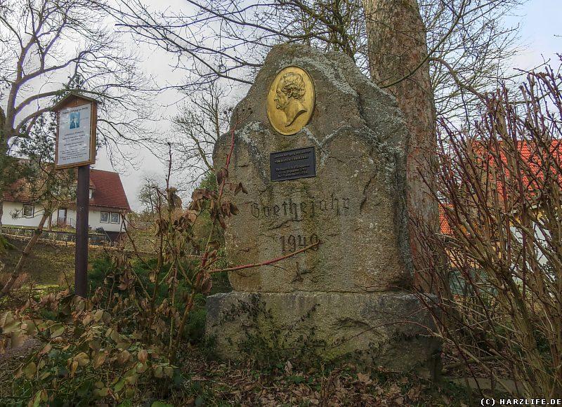 Der Goethestein im Goethepark von Elbingerode